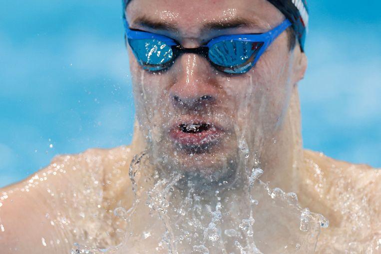 Arno Kamminga zwemt naar olympisch zilver op de 200 meter schoolslag.  Beeld AFP