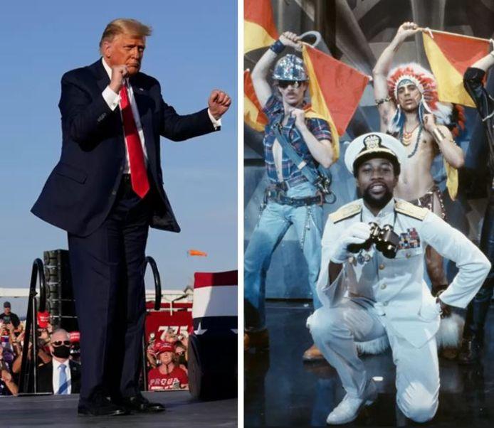 Donald Trump (links) danste op de muziek van The Village People (rechts).