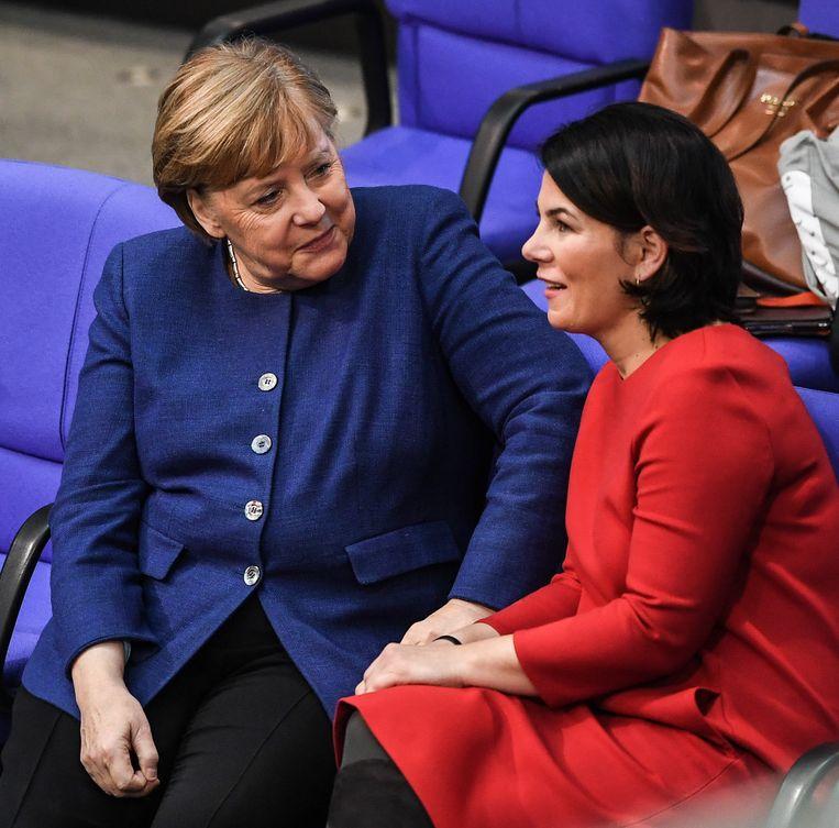 Zal Annalena Baerbock in de voetsporen treden van Angela Merkel? Beeld EPA