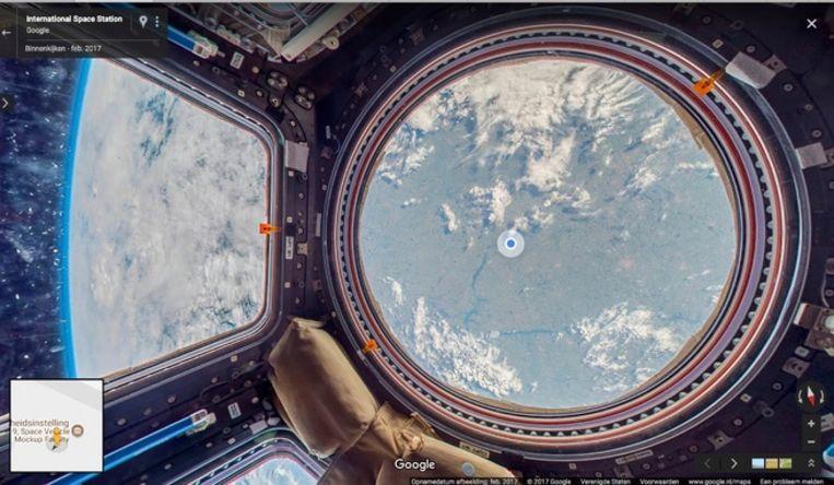 Google Street View geeft u nu ook een rondleiding door het ISS. Beeld Google Street View