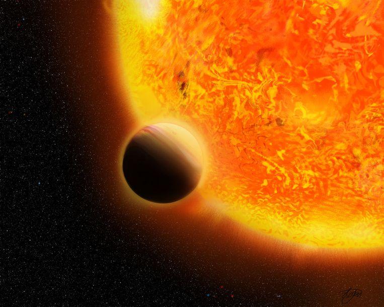 Computertekening van de 'Nederlandse' exoplaneet Nachtwacht rond zijn moederster Sterrennacht.  Beeld Livia Pietrow