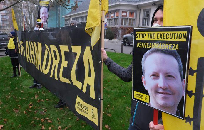 Manifestation en faveur d'Ahmadreza Djalali, en novembre dernier, à proximité de l'ambassade d'Iran à Bruxelles