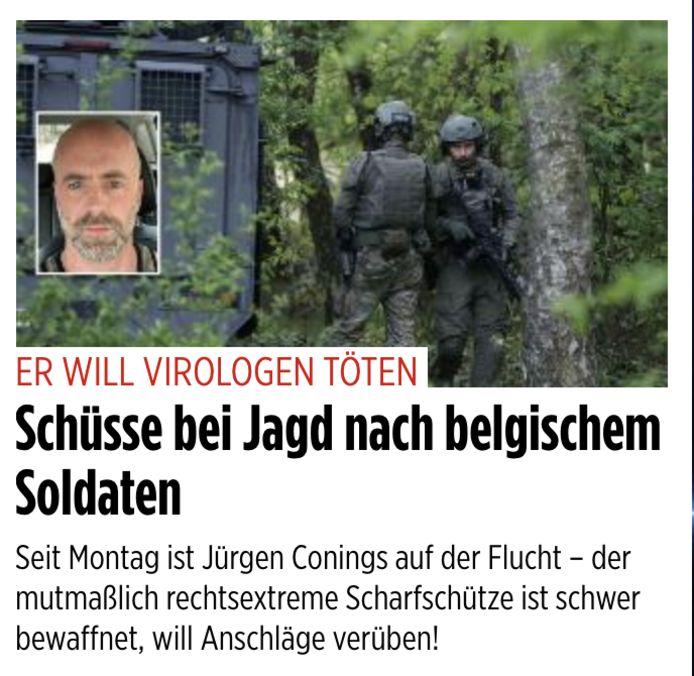 Duitslands grootste krant Bild zet Conings prominent op de buitenlandsectie van zijn website.