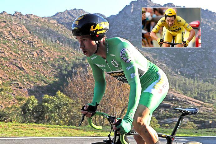 Primoz Roglic tijdens de Vuelta-tijdrit. Inzet: Primoz Roglic tijdens de Tour-tijdrit.