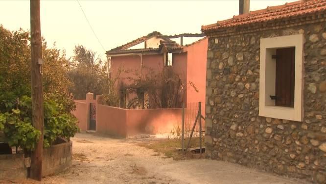 Zwartgeblakerde bomen en verwoeste huizen: Griekse eiland Evia meet de schade op