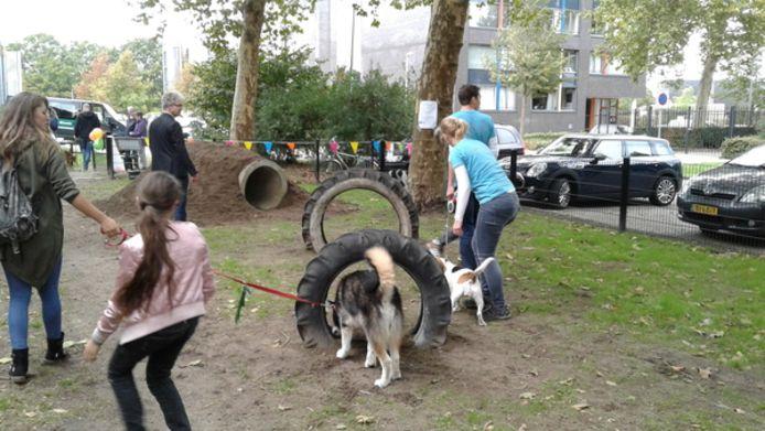 Voor de opening van de hondenspeeltuin was de belangstelling behoorlijk.