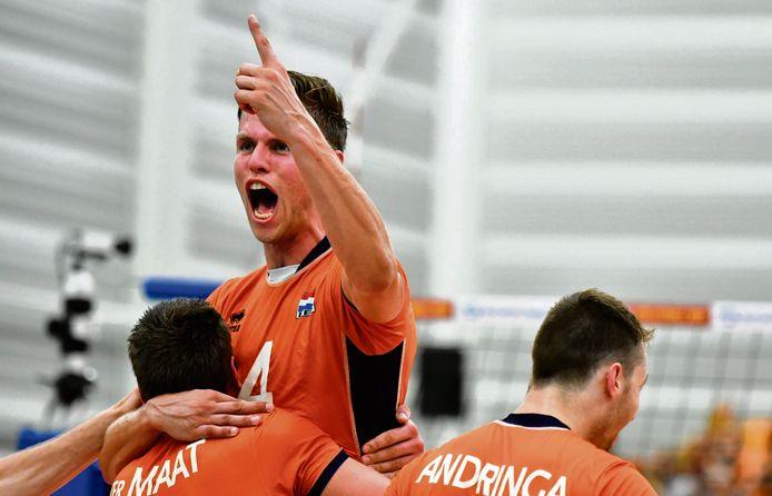 Thijs ter Horst schreeuwt het uit na een gewonnen punt.