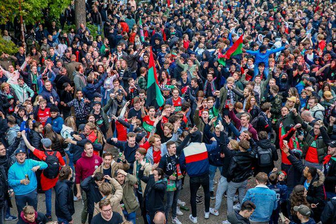 Supporters van NEC voor het Stadionplein na 2-1 winst op NAC Breda