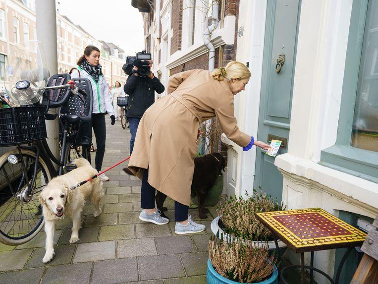 D66 lijsttrekker Sigrid Kaag flyert met haar honden Marjo en Goldie. Beeld Martijn Beekman