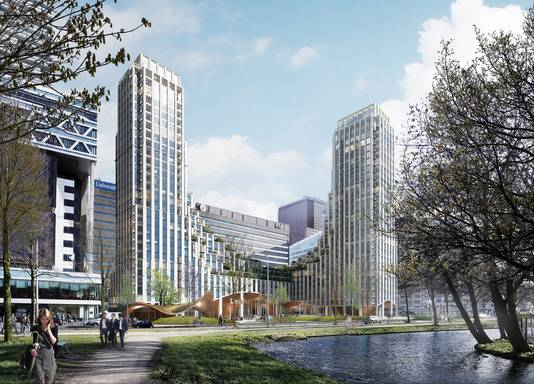 Ook het nieuwe gebouw aan de voorkant van het Centraal Station - hier te zien op een schets - moet een groen karakter krijgen.