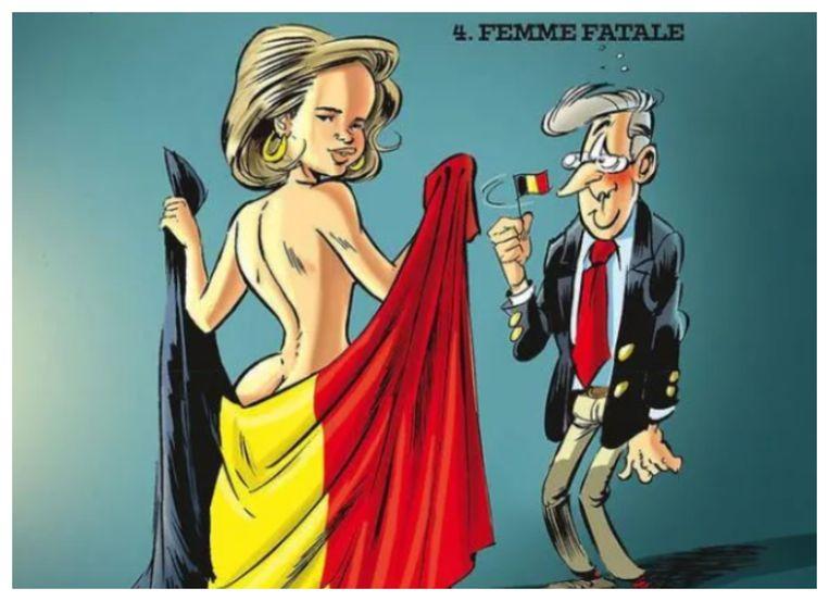 De wulpse koningin Mathilde siert de cover van een stripalbum van Charel Cambré. Beeld Ballon/Charel Cambré