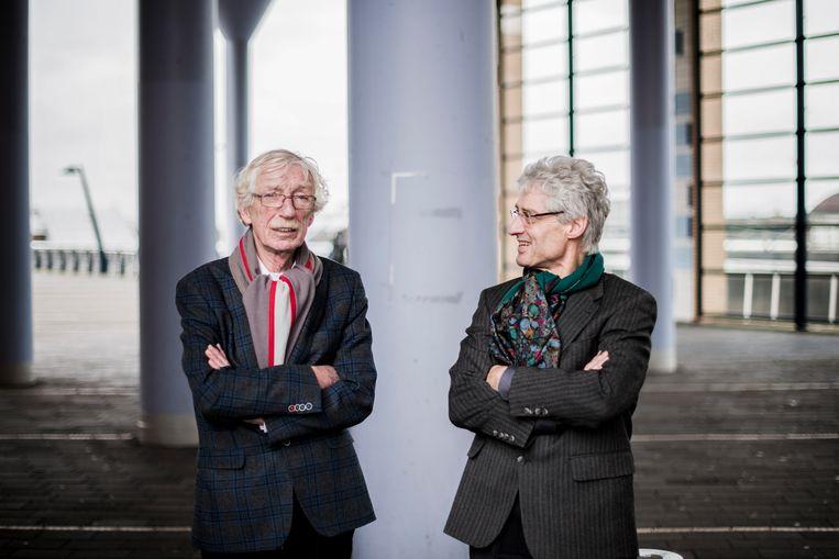 Rien Verbiest (rechts) en Paul Kuiper, twee vaders van vermoorde kinderen. Beeld Bram Petraeus