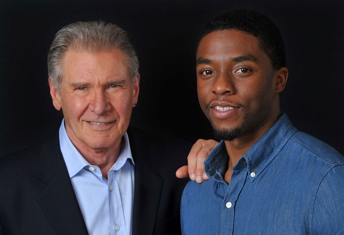 Harrison Ford en Chadwick Boseman speelden samen in de film '42'.