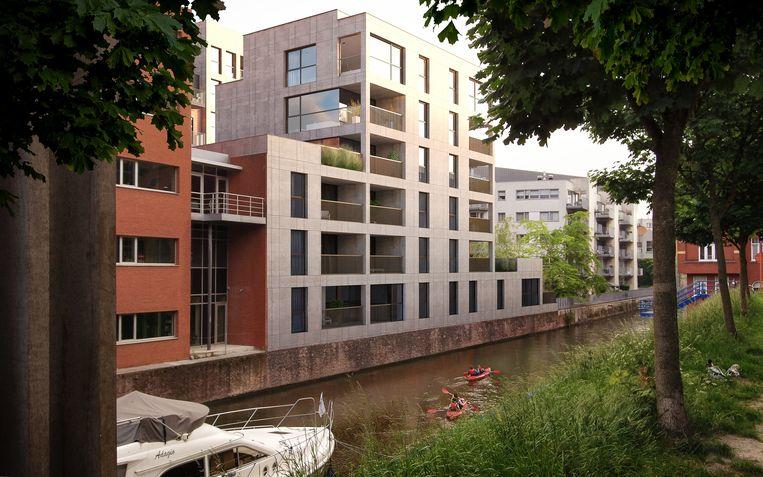 Aan de achterzijde komt een nieuwbouw langs het water van de Ketelvest.