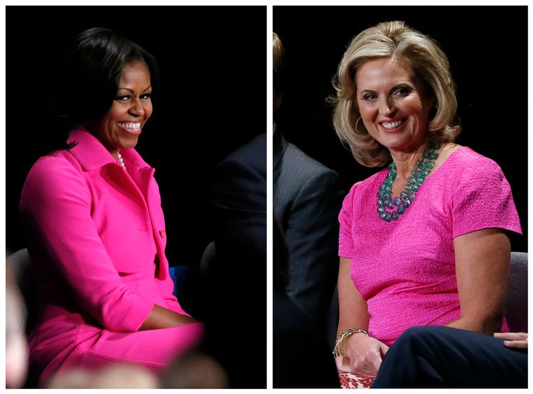 A combination photo shows U.S. first lady Michelle Obama (L) and Ann Romney, wife of Republican presidential nominee Mitt Romney, during the U.S. presidential campaign debate in Hempstead, New York October 16, 2012. Both ladies opted for hot pink outfits to attend the second debate. REUTERS/Rick Wilking  (UNITED STATES - Tags: POLITICS USA PRESIDENTIAL ELECTION ELECTIONS TPX IMAGES OF THE DAY) Beeld Reuters