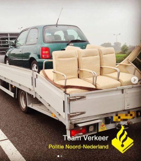 Man zwaarbeladen en zonder rijbewijs van de weg gehaald bij Groningen