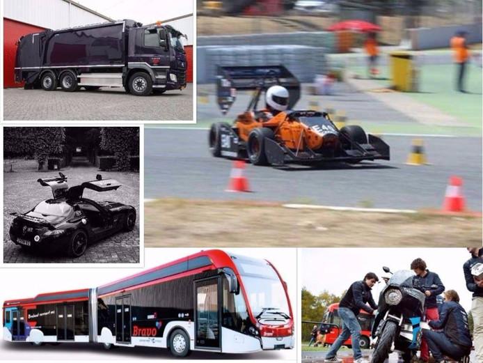 Voorbeelden van elektrische voertuigen die zondag meedoen aan de E-Parade.