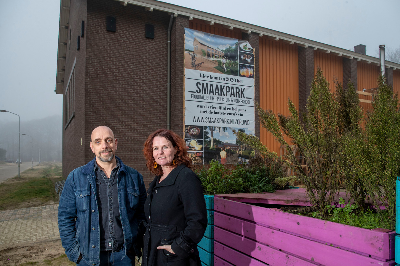 Christiaan Weij en Petra Busser op de plek in Ede waar hun Smaakpark zal komen.