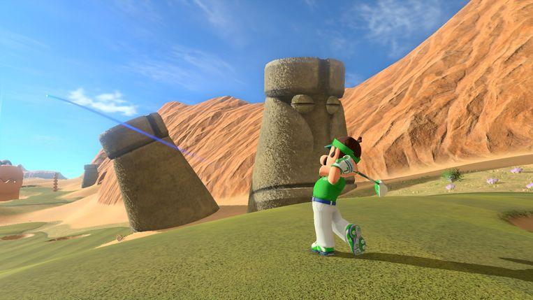 Mario's broer Luigi op een golfbaan kennelijk gesitueerd op Paaseiland. Beeld Nintendo