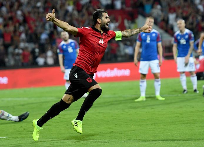 Elseid Hysaj heeft gescoord voor Albanië tegen IJsland.