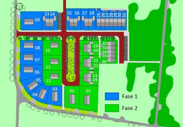 De woningen aan de Poelweg worden gebouwd in twee fasen.