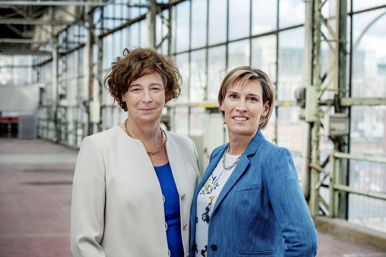 Petra De Sutter en haar echtgenote Claire Vanhoutte op een foto uit 2019 toen ze allebei op een lijst van Groen stonden. De Sutter trok de Europese lijst, Vanhoutte stond 12de op de Vlaamse lijst. Beeld ID/ Sien Verstraeten