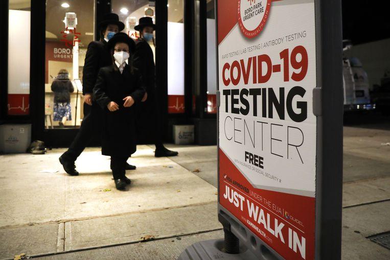 Een covid-testcentrum in New York. Beeld Getty Images