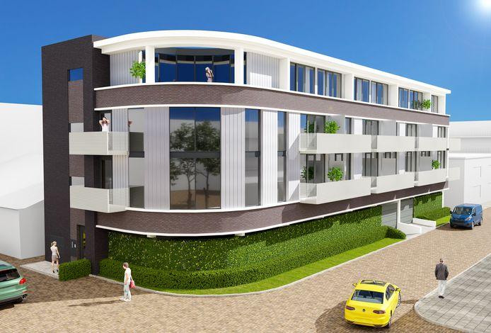 Impressie van het nieuwe appartementencomplex Nrng23 in het centrum van Uden. De drie penthouses liggen bovenop zestien huur- en koopappartementen met daaronder de parkeerkelder. Aan de voorkant loopt de Neringstraat-Oost, het gebouw staat met de rug naar de horecapanden aan de Markt.