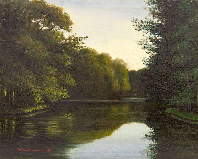 Is dit een vroege Piet Mondriaan? Het heeft er alle schijn van. Het werk uit 1887 heet 'De grote vijvers in het Haagse bos'. Collectie Simonis & Buunk