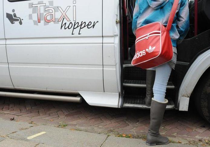 Twintig leerlingen gaan per taxi(busje) naar een Belgische school.