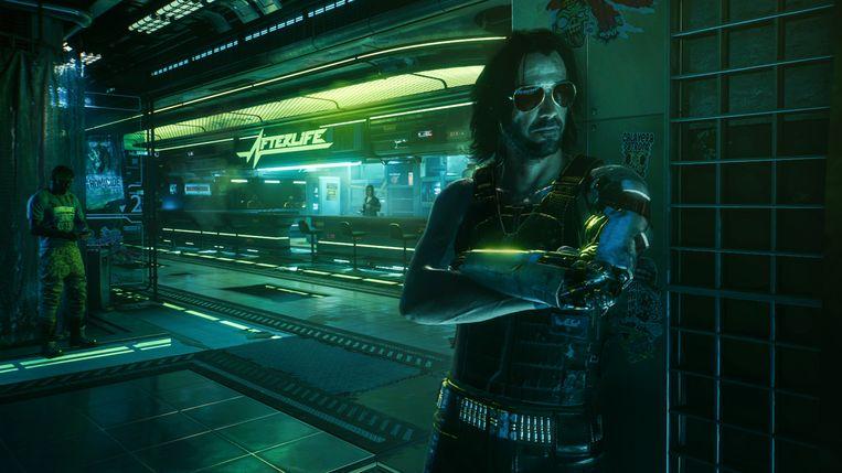 Cyberpunk 2077 speelt zich af in een botsing tussen Las Vegas en een sloppenstad. Met Keanu Reeves als een van zijn opmerkelijkste bewoners. Dood, en toch aanwezig. Beeld CD Project