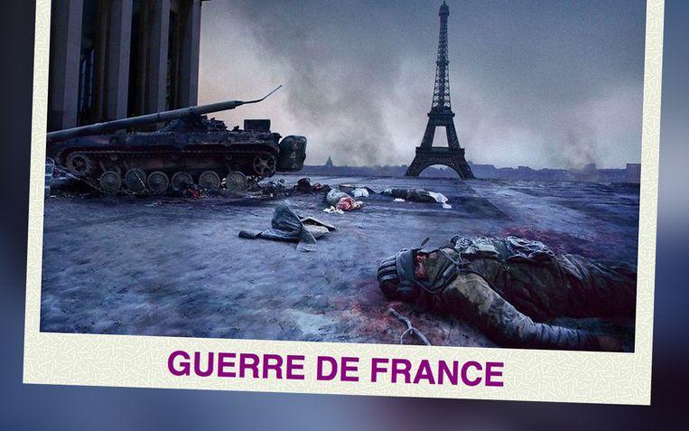 'Guerre de France' prijkt bovenaan op de website van AFO, de 'Action des Forces Opérationnelles', een groepering waarvan er dit weekend tien mensen opgepakt zijn. Beeld RV
