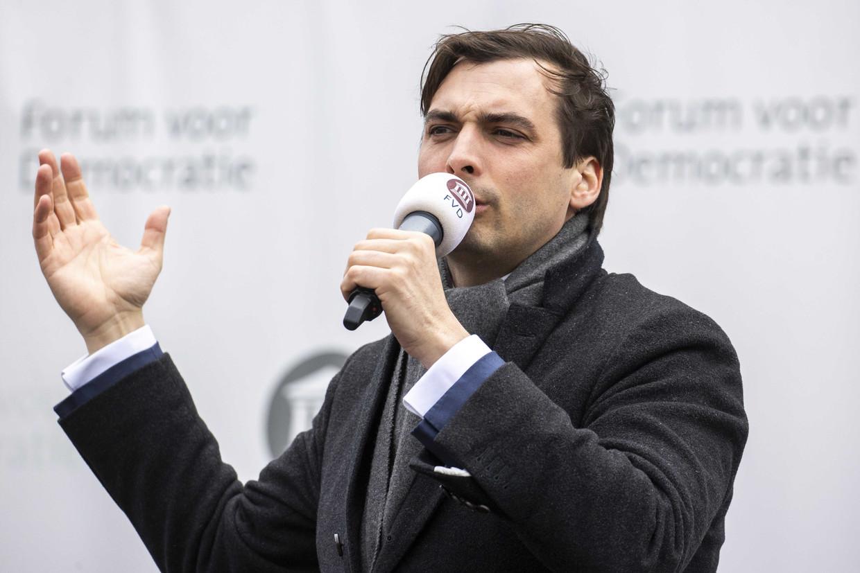Partijleider Thierry Baudet van Forum voor Democratie op campagne in Sneek.