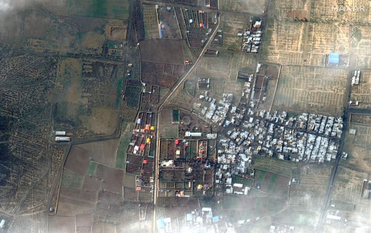 De crash-site van de Boeing bij Teheran vanuit de ruimte gezien. Beeld null