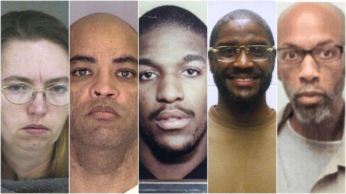Van links naar rechts: Lisa Montgomery, Alfred Bourgeois, Cory Johnson, Brandon Bernard en Dustin Higgs. Bourgeois en Bernard werden intussen geëxecuteerd.