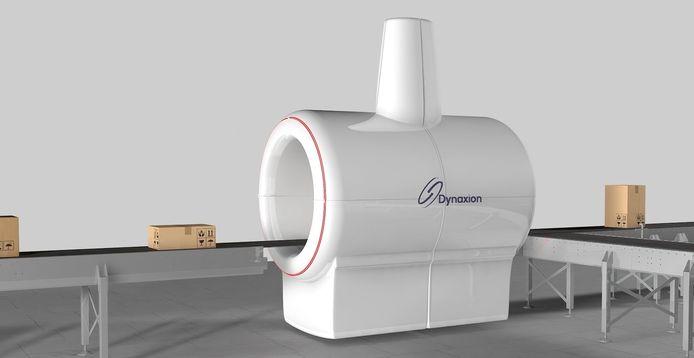 Een artist impression van de hightech pakkettenscanner van Dynaxion