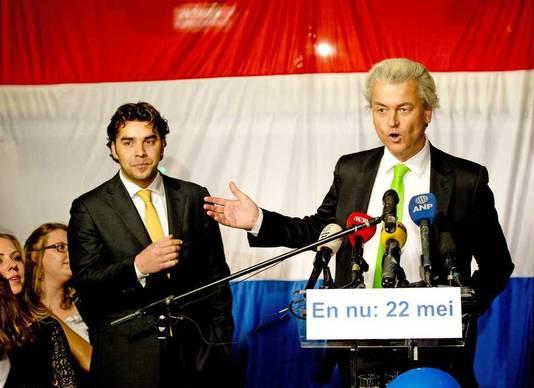Lijsttrekker Leon de Jong (L) van de Haagse PVV en partijleider Geert Wilders.