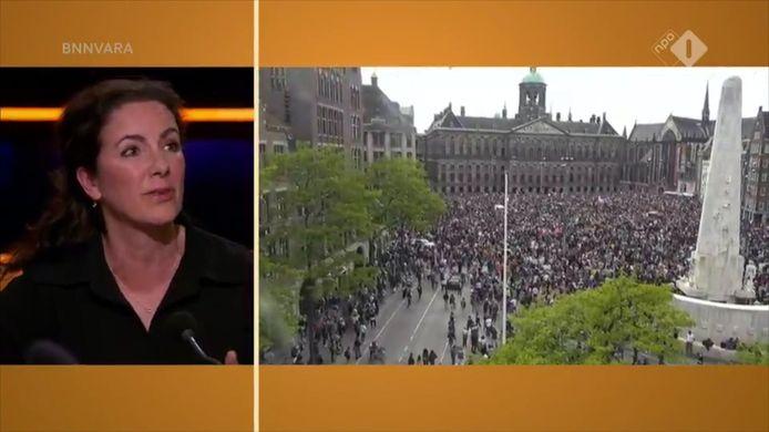 Burgemeester Halsema van Amsterdam sprak in talkshow Op1 over de demonstratie die maandag op de Dam plaatsvond.