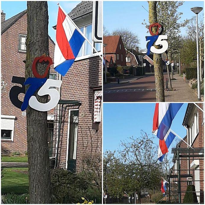 Thijs en Karlijn hielpen met het schilderen van de borden. In de hele straat werd gevlagd.