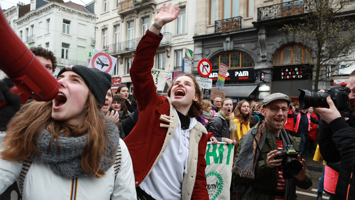 Manifestation à Bruxelles à l'occasion de la grève mondiale pour le climat, le 15 mars 2019.