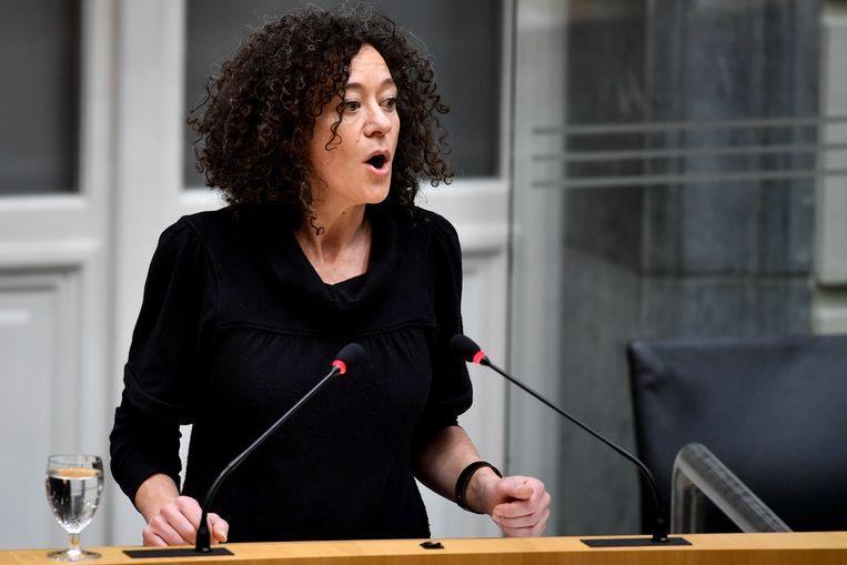 Yasmine Kherbache trekt de Kamerlijst voor sp.a in Antwerpen. Beeld BELGA