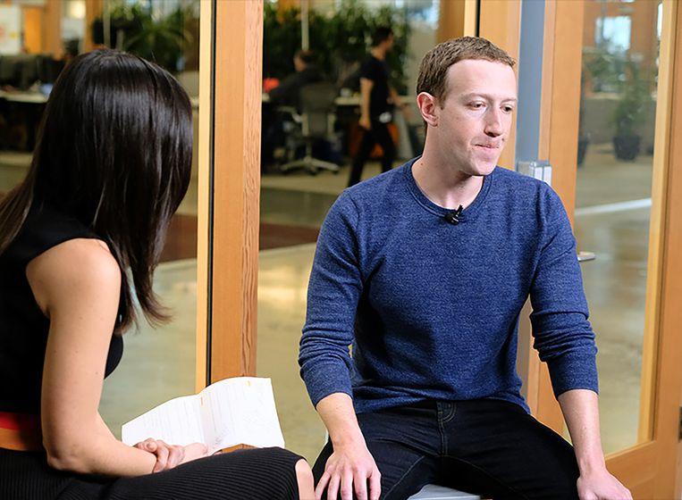 Mark Zuckerberg tijdens een interview met CNN. Beeld