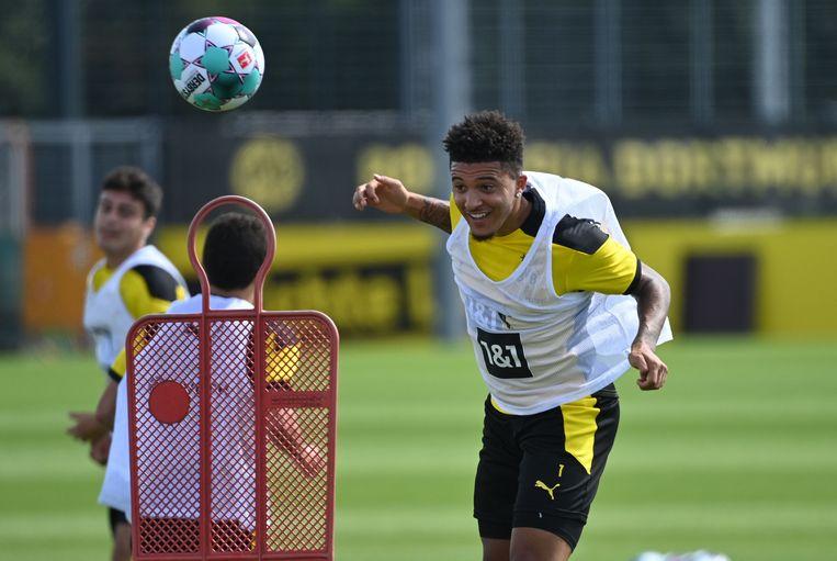 Jadon Sancho op training bij Borussia Dortmund.