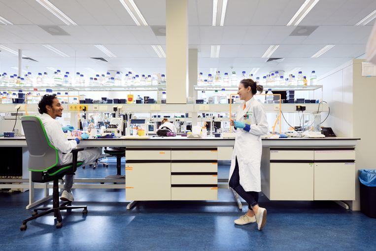 Onderzoekers van de Technische Universiteit Eindhoven in een biomedisch lab. Beeld Hollandse Hoogte / Bart van Overbeeke Fotografie