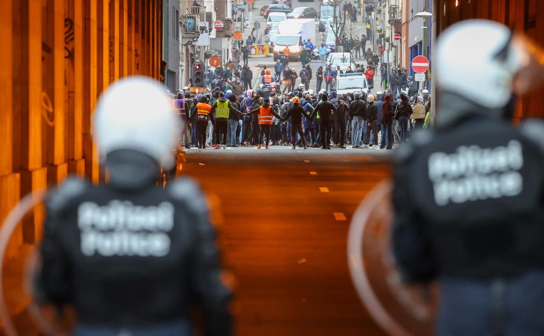 Woensdag werd in Brussel gedemonstreerd ter nagedachtenis van Ibrahima. Na die manifestatie kwam het tot rellen. Beeld BELGA