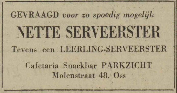 Advertentie uit mei 1956 van cafetaria Parkzicht in Oss