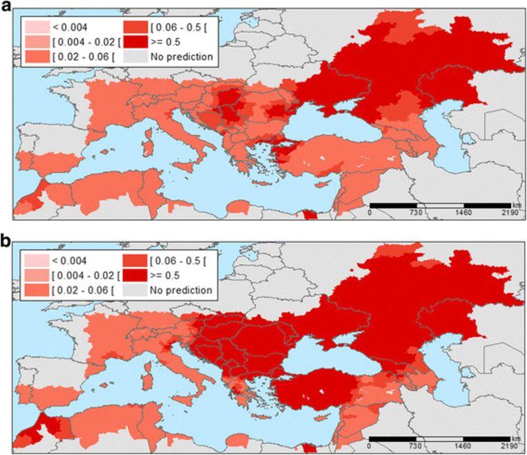 Voorspelde infecties van het West-Nijlvirus in Europa. Beeld rv