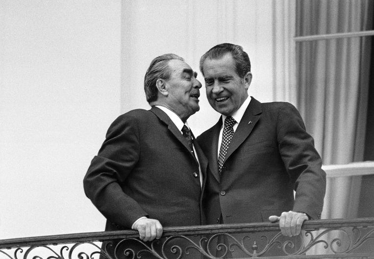 Sovjetleider Breznjev en Amerikaans president Nixon in 1973. Beeld AP