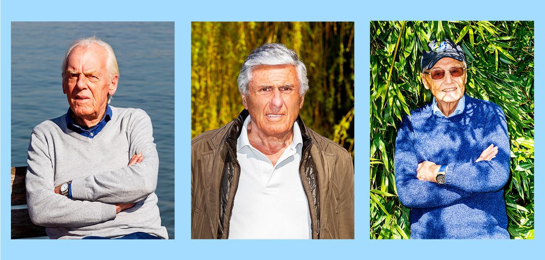 Van links naar rechts: Leo Beenhakker, Sjaak Swart en Piet de Visser.  Beeld Marie Wanders