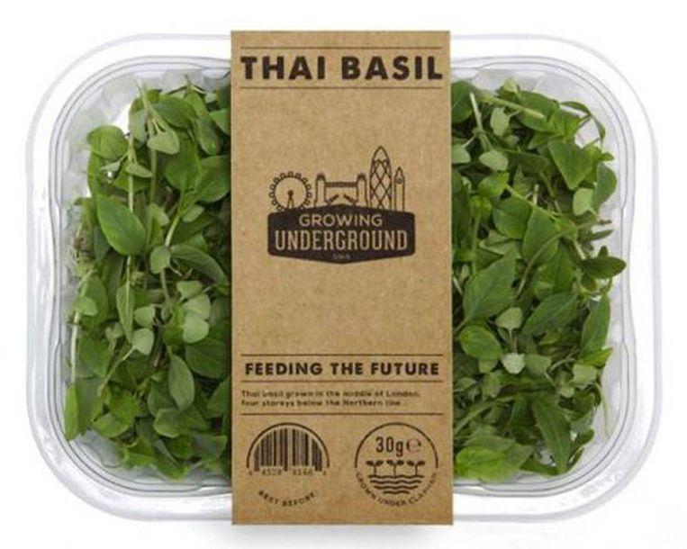 Thaise basilicum is slechts één van de vele gewassen die Growing Underground wil aanbieden aan restaurants, supermarkten en groothandels. Beeld Kos